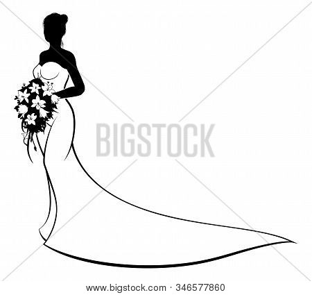 Wedding Concept Of Bride Silhouette In White Bridal Dress Gown Holding A Floral Bouquet Of Flowers