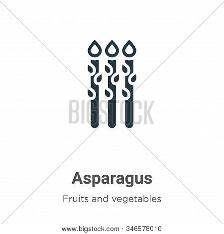 Asparagus Glyph Icon Vector On White Background. Flat Vector Asparagus Icon Symbol Sign From Modern