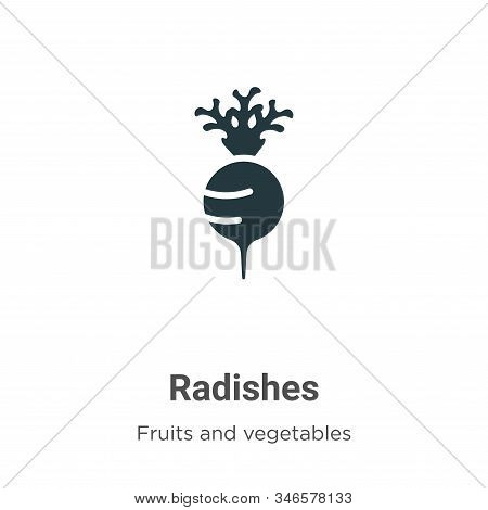 Radishes Glyph Icon Vector On White Background. Flat Vector Radishes Icon Symbol Sign From Modern Fr