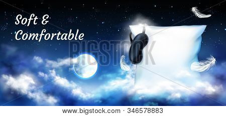 Pillow With Blindfold In Night Sky With Full Moon, Stars And Clouds Banner. White Square Soft Cushio