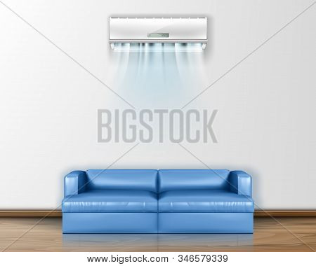Vector Realistic Air Conditioner With Fresh Air On The Wall Above The Sofa.