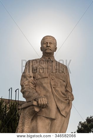 Gori, Georgia, October 13, 2019 : Monument To Stalin With A Halo From The Sun Around His Head On A P