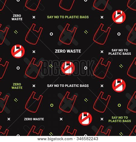 Zero Waste And Say No To Plastic Bags Seamless Pattern On Green Background
