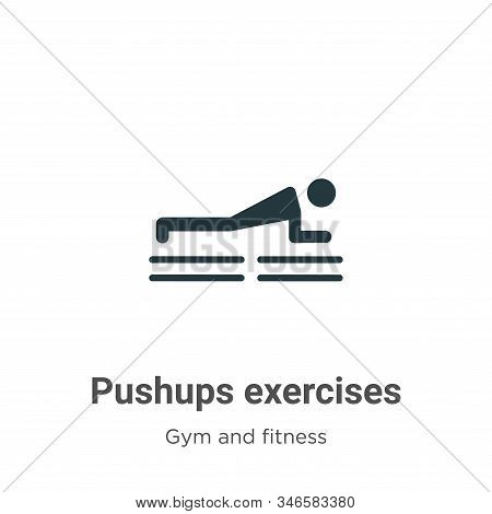 Pushups exercises icon isolated on white background from gym and fitness collection. Pushups exercis