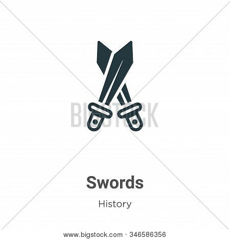 Swords icon isolated on white background from history collection. Swords icon trendy and modern Swor