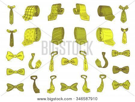 Stylish Monochrome Neckwear Items Hand Drawn Icon Illustrations Set Green Color