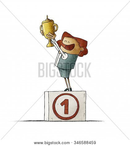 Business Woman On A Podium With The Number One Lifts A Trophy With Her Hands. Isolated