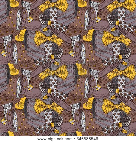 Various Male Neckwear Color Collage Seamless Pattern