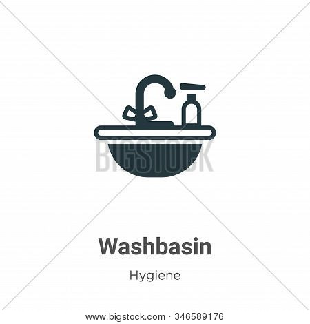 Washbasin Glyph Icon Vector On White Background. Flat Vector Washbasin Icon Symbol Sign From Modern