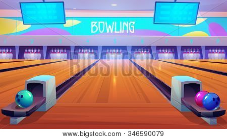 Bowling Alleys With Balls, Pins And Scoreboard Screens. Empty Club Interior With Skittles On Lane, P