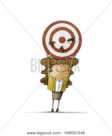 Business Woman Holds Up A Target That Has Three Darts Stuck. Human Resources Concept. Isolated