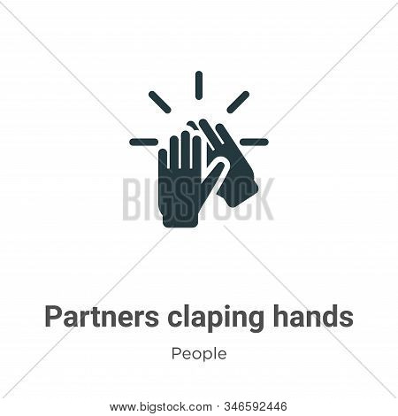 Partners Claping Hands Glyph Icon Vector On White Background. Flat Vector Partners Claping Hands Ico
