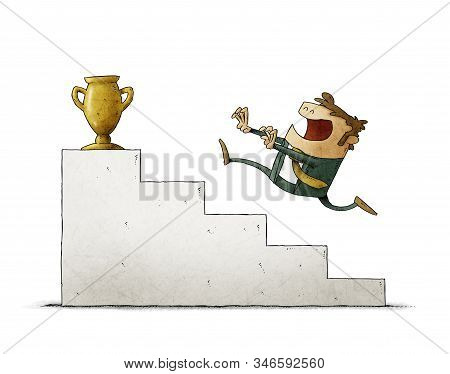 Businessman Runs Up Some Stairs To Reach A Golden Trophy. Isolated