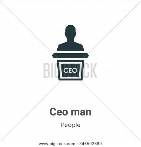 Ceo Man Glyph Icon Vector On White Background. Flat Vector Ceo Man Icon Symbol Sign From Modern Peop