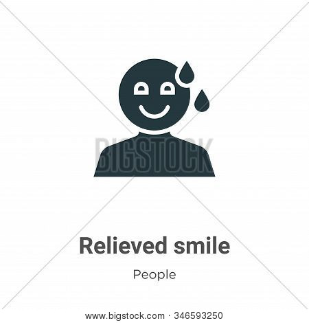 Relieved smile icon isolated on white background from people collection. Relieved smile icon trendy