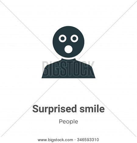 Surprised Smile Glyph Icon Vector On White Background. Flat Vector Surprised Smile Icon Symbol Sign