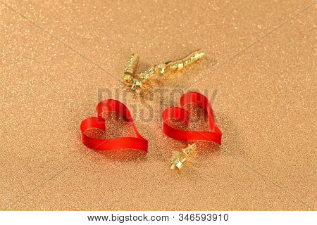 Two Red Hearts On The Gold Background, Love Concept For Valentines Day