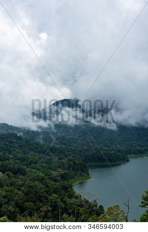 Early Morning Scenery Of Forest With Fog In The Mountain Valley