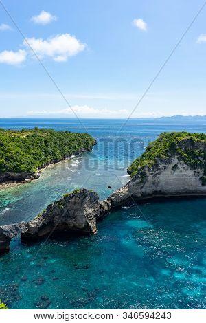 View Of Broken Beach In Nusa Penida, Bali, Indonesia. Blue Sky, Turquoise Water.