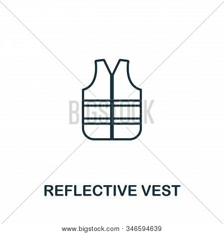 Reflective Vest Line Icon. Thin Style Element From Construction Tools Icons Collection. Outline Refl