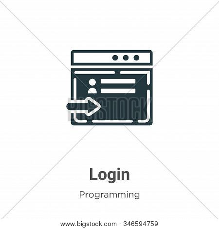 Login Glyph Icon Vector On White Background. Flat Vector Login Icon Symbol Sign From Modern Programm