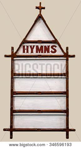Richmond, Tasmania, Australia - December 13, 2009: Saint Luke Church. Closeup Of White Hymns Display