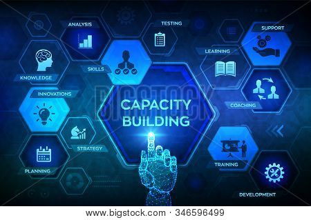 Capacity Building Concept On Virtual Screen. Training Learning Knowledge Skills Planning Strategy Co