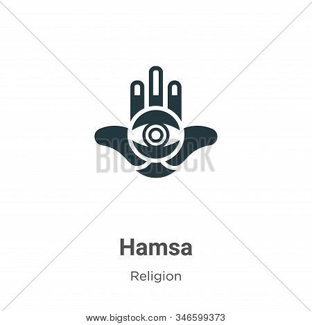Hamsa Glyph Icon Vector On White Background. Flat Vector Hamsa Icon Symbol Sign From Modern Religion