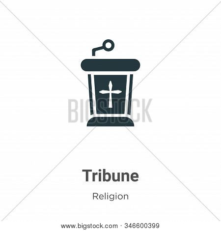 Tribune Glyph Icon Vector On White Background. Flat Vector Tribune Icon Symbol Sign From Modern Reli