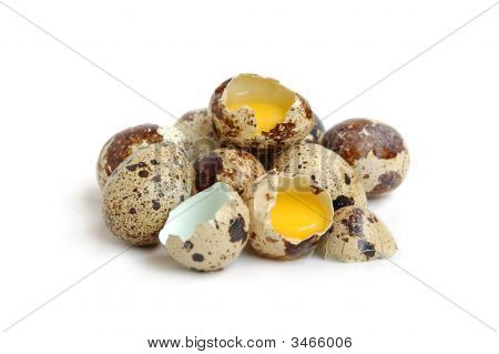 Bunch of quail eggs two eggs are broken poster