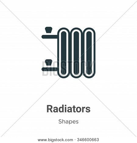 Radiators Glyph Icon Vector On White Background. Flat Vector Radiators Icon Symbol Sign From Modern