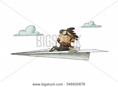 Businessman Sitting On A Paper Plane Flies At High Speed. Isolated