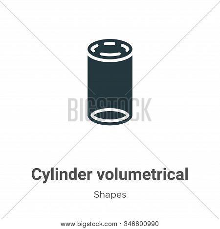 Cylinder Volumetrical Glyph Icon Vector On White Background. Flat Vector Cylinder Volumetrical Icon