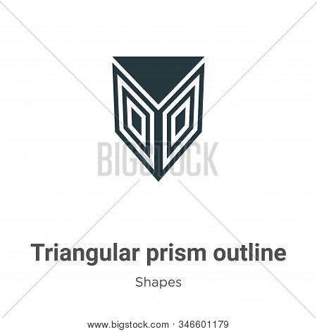 Triangular Prism Outline Glyph Icon Vector On White Background. Flat Vector Triangular Prism Outline