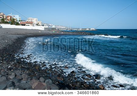 Candelaria, Tenerife, Spain - 27 December 2019,  View Of Small Fishing Village Candelaria In Tenerif