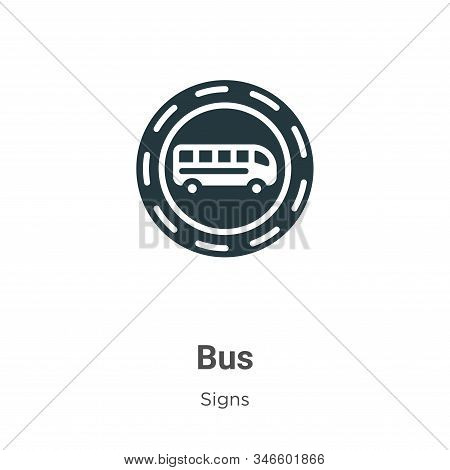 Bus Glyph Icon Vector On White Background. Flat Vector Bus Icon Symbol Sign From Modern Signs Collec