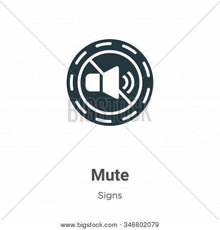 Mute Glyph Icon Vector On White Background. Flat Vector Mute Icon Symbol Sign From Modern Signs Coll