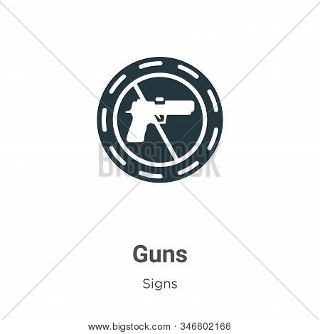 Guns icon isolated on white background from signs collection. Guns icon trendy and modern Guns symbo