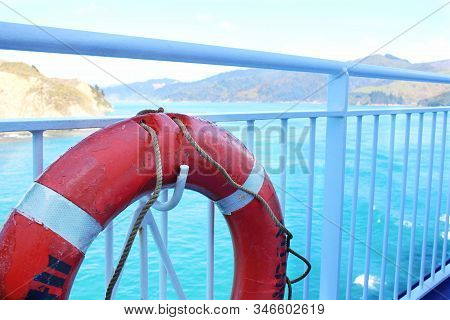 A Life Preserver On A Ferry Heading To North Island, New Zealand