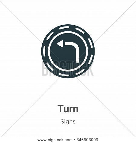 Turn Glyph Icon Vector On White Background. Flat Vector Turn Icon Symbol Sign From Modern Signs Coll
