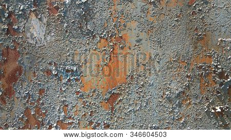Corroded Metal Background. Rusted White Painted Metal Wall. Rusty Metal Background With Streaks Of R