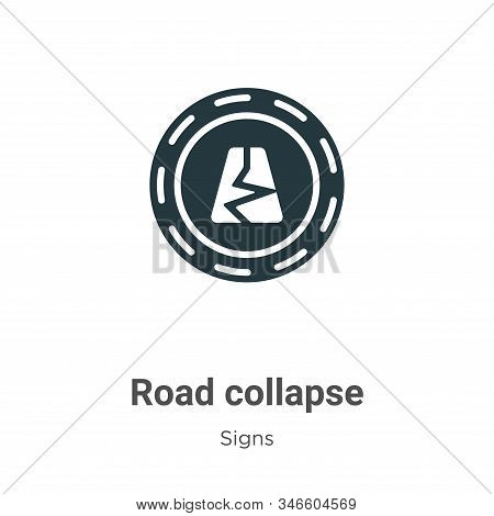 Road collapse icon isolated on white background from signs collection. Road collapse icon trendy and