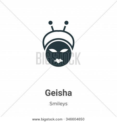 Geisha Glyph Icon Vector On White Background. Flat Vector Geisha Icon Symbol Sign From Modern Smiley