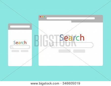 Simple Browser Window On Blue Background. Browser With Address And Search Bar, Control Buttons. Brow