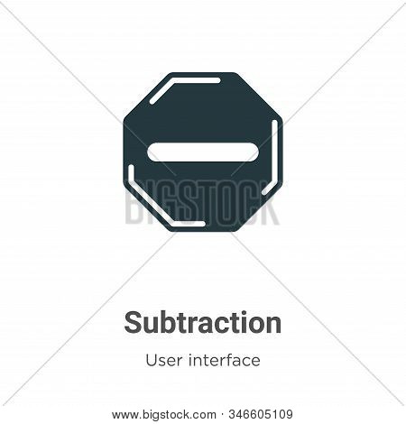 Subtraction icon isolated on white background from user interface collection. Subtraction icon trend