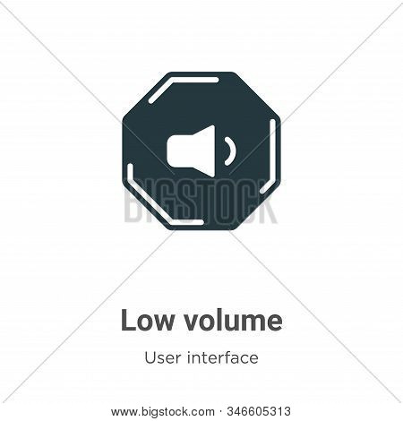 Low Volume Glyph Icon Vector On White Background. Flat Vector Low Volume Icon Symbol Sign From Moder