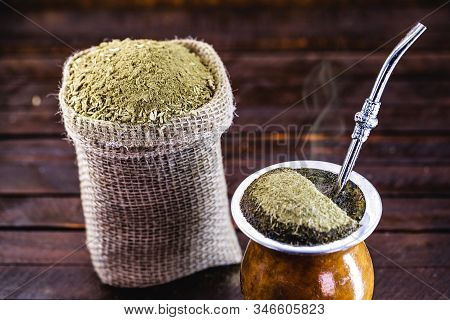 Gaucho Yerba Mate Tea, The Chimarrão, A Typical Brazilian Drink, Traditionally In A Bombilla Stick C