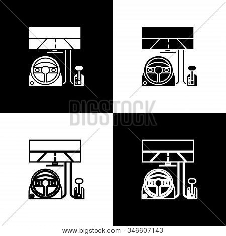 Set Racing Simulator Cockpit Icon Isolated On Black And White Background. Gaming Accessory. Gadget F