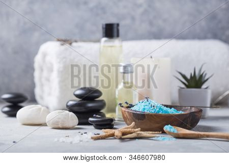 Spa Concept: Composition Of Spa Treatment With Spa Stone. Massage. Composition With Candles, Spa Sto