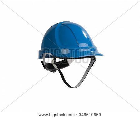 Blue Safety Helmet Isolated On White Background